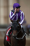 DEL MAR, CA - NOVEMBER 03: Ryan Moore, aboard Mendelssohn #1, celebrates after winning the Breeders' Cup Juvenile Turf on Day 1 of the 2017 Breeders' Cup World Championships at Del Mar Thoroughbred Club on November 3, 2017 in Del Mar, California. (Photo by Michael McInally/Eclipse Sportswire/Breeders Cup)