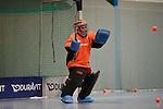 Mannheim, Germany, January 10: During the 1. Verbandsliga Damen Hallensaison 2014/15 hockey match between Feudenheimer HC (blue) and Mannheimer HC 3 (red) (blue) on January 10, 2015 at Irma-Roechling-Halle in Mannheim, Germany. Final score 10-3 (6-2). (Photo by Dirk Markgraf / www.265-images.com) *** Local caption *** Ann-Kathrin Munk of Feudenheimer HC