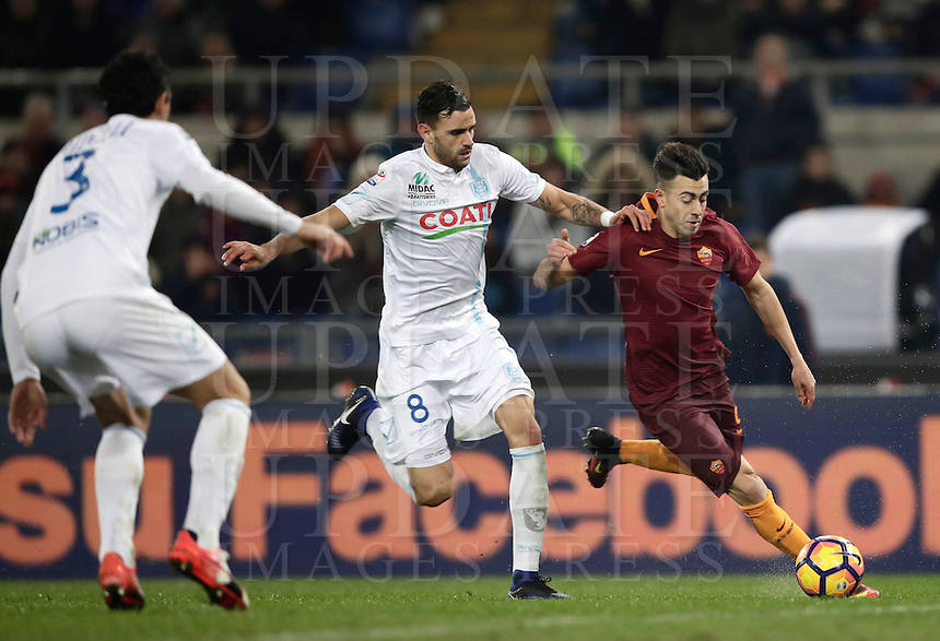 Calcio, Serie A: Roma vs ChievoVerona. Roma, stadio Olimpico, 22 settembre 2016.<br /> Roma's Stephan El Shaarawy, right, is challenged by Chievo Verona's Ivan Radovanovic, center, during the Italian Serie A football match between Roma and Chievo Verona, at Rome's Olympic stadium, 22 December 2016.<br /> UPDATE IMAGES PRESS/Isabella Bonotto