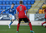 St Johnstone v Rangers...29.09.15   SPFL Development League  McDiarmid Park, Perth<br /> Eoghan McCawl's shot is saved<br /> Picture by Graeme Hart.<br /> Copyright Perthshire Picture Agency<br /> Tel: 01738 623350  Mobile: 07990 594431