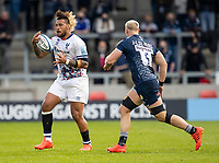 28th May 2021; AJ Bell Stadium, Salford, Lancashire, England; English Premiership Rugby, Sale Sharks versus Bristol Bears; Nathan Hughes of Bristol Bears catches the ball in front of Jean-Luc du Preez of Sale Sharks
