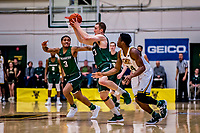 12 March 2019: Binghamton University Bearcat Guard J.C. Show, a Graduate from Clarks Summit, PA, grabs the ball as teammate Guard Sam Sessoms (3), a Freshman from Philadelphia, PA, watches the action during the America East Semifinal Men's Basketball playoff game against the University of Vermont Catamounts at Patrick Gymnasium in Burlington, Vermont. The top-seeded Catamounts defeated the Bearcats 84-51, ending Binghamton's 2018-2019 season. Mandatory Credit: Ed Wolfstein Photo *** RAW (NEF) Image File Available ***