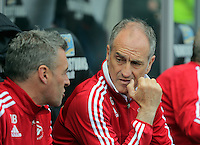 ( L-R ) Diego Bortoluzzi and Francesco Guidolin manager of Swansea City during the Swansea City FC v Manchester City Premier League game at the Liberty Stadium, Swansea, Wales, UK, Sunday 15 May 2016
