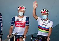 Jasper Stuyven (BEL/Trek-Segafredo) & World Champion Mads Pedersen (DEN/Trek-Segafredo) at the race start in Le Teil<br /> <br /> Stage 6 from Le Teil to Mont Aigoual (191km)<br /> <br /> 107th Tour de France 2020 (2.UWT)<br /> (the 'postponed edition' held in september)<br /> <br /> ©kramon