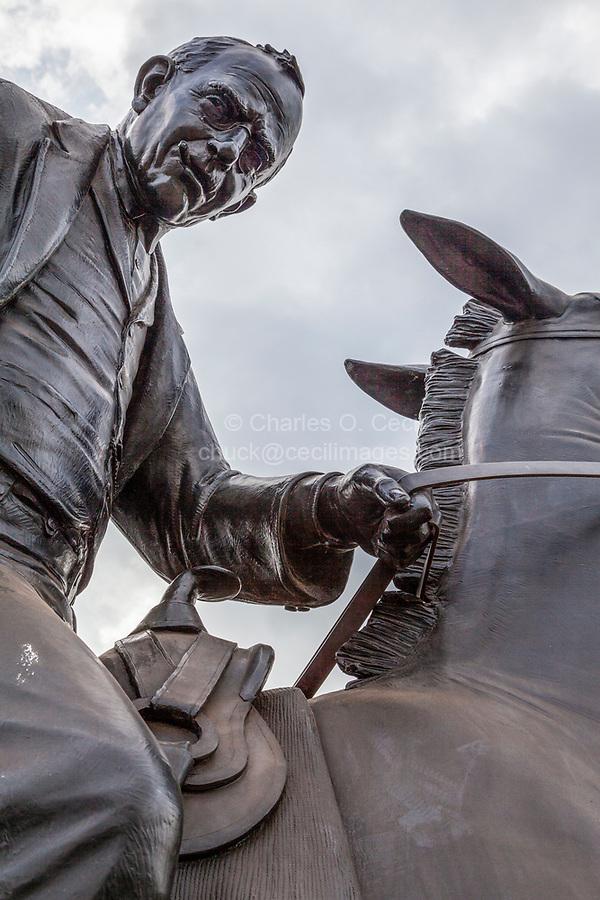 Oklahoma City, Oklahoma.  Oklahoma Land Run Monument, Sculptor Paul Moore.  Man on Horseback.