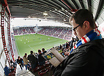 Rangers fans enjoying the view from the top of the stand at Tynecastle