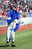 Casey the Omaha Storm Chasers mascot before the game against the Memphis Redbirds in Pacific Coast League action at Werner Park on April 22, 2015 in Papillion, Nebraska.  (Stephen Smith/Four Seam Images)