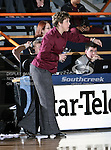 Texas State Bobcats Head Coach Suzanne Fox calls out instructions during the game between the Texas State Bobcats and the UTA Mavericks held at the University of Texas at Arlington's, Texas Hall, in Arlington, Texas. UTA defeats Texas State 79 to 63