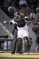 Charlotte Knights catcher Alfredo Gonzalez (21) on defense against the Scranton/Wilkes-Barre RailRiders at BB&T BallPark on April 12, 2018 in Charlotte, North Carolina.  The RailRiders defeated the Knights 11-1.  (Brian Westerholt/Four Seam Images)