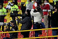 BOGOTA - COLOMBIA, 03-02-2021: Medios de comunicacion en el retorno al abrir asistencia durante partido de la fecha 3 entre Independiente Santa Fe y Atletico Nacional por la Liga BetPlay DIMAYOR II 2021, en el estadio Nemesio Camacho El Campin de la ciudad de Bogota. / Media in the return to open assistance during the match on date 3 between Independiente Santa Fe and Atletico Nacional, for the BetPlay DIMAYOR II 2021 League at the Nemesio Camacho El Campin Stadium in Bogota city. / Photo: VizzorImage / Luis Ramirez / Staff.
