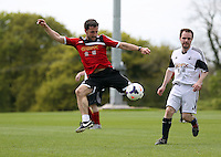 Pictured: Richie Buchanan. Tuesday 06 May 2014<br /> Re: Members of the local press play football against Swansea City FC coaches and members of staff at the Club's training ground in Fairwood, south Wales.