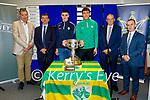Attending the Kerry GAA Senior championship draw in Austin Stack Park on Monday. L to r: Tim Murphy (Chairman Kerry GAA). Jim Garvey (Garveys), Seanie Shea (Kenmare Shamrocks), David Clifford (Mid Kerry), Kevin McCarthy and Paul O'Connor (Garveys)