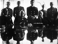 Allies grand-strategy conference in N. Africa. Adm. E. J. King, Mr. Churchill; President Roosevelt; Standing, Maj. Gen. Sir Hastings Ismay; Lord Louis Mountbatten; and Field Marshall Sir John Dill.  1943.  New York Times Paris Bureau Collection.  (USIA)  <br /> Exact Date Shot Unknown<br /> NARA FILE #:  306-NT-1391-7<br /> WAR & CONFLICT BOOK #:  748