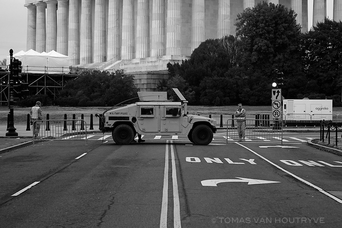 An armoured Hummer blocks a street leading to the Lincoln Memorial   on Inauguration Day in Washington, DC on Jan. 20, 2017.