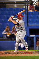 Palm Beach Cardinals catcher Carson Kelly (19) at bat during the second game of a doubleheader against the Dunedin Blue Jays on July 31, 2015 at Florida Auto Exchange Stadium in Dunedin, Florida.  Dunedin defeated Palm Beach 4-0.  (Mike Janes/Four Seam Images)