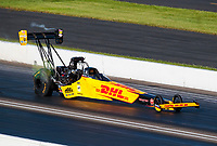 Jul 12, 2020; Clermont, Indiana, USA; NHRA top fuel driver Shawn Langdon during the E3 Spark Plugs Nationals at Lucas Oil Raceway. This is the first race back for NHRA since the start of the COVID-19 global pandemic. Mandatory Credit: Mark J. Rebilas-USA TODAY Sports
