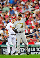 8 June 2010: Pittsburgh Pirates' first baseman Garrett Jones in action against the Washington Nationals at Nationals Park in Washington, DC. The Nationals defeated the Pirates 5-2 in the series opener where pitching sensation Stephen Strasburg made his Major League debut, striking out 14 batters and notching his first win in the majors. Mandatory Credit: Ed Wolfstein Photo