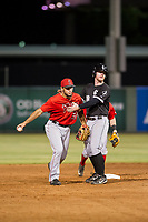 AZL White Sox Alex Destino (18) prevents himself from running into AZL Angels shortstop Nonie Williams (27) after over-running second base during the game on August 14, 2017 at Diablo Stadium in Tempe, Arizona. AZL Angels defeated the AZL White Sox 3-2. (Zachary Lucy/Four Seam Images)