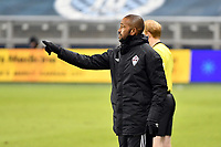 KANSAS CITY, KS - OCTOBER 24: Robin Fraser Head Coach Colorado Rapids gives instructions to his players during a game between Colorado Rapids and Sporting Kansas City at Children's Mercy Park on October 24, 2020 in Kansas City, Kansas.