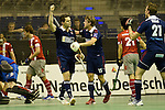Berlin, Germany, January 31: Joshua Delarber #6 of Rot-Weiss Koeln celebrates after scoring during the 1. Bundesliga Herren Hallensaison 2014/15 semi-final hockey match between Rot-Weiss Koeln (dark blue) and Club an der Alster (red) on January 31, 2015 at the Final Four tournament at Max-Schmeling-Halle in Berlin, Germany. Final score 4-3 (2-2). (Photo by Dirk Markgraf / www.265-images.com) *** Local caption ***