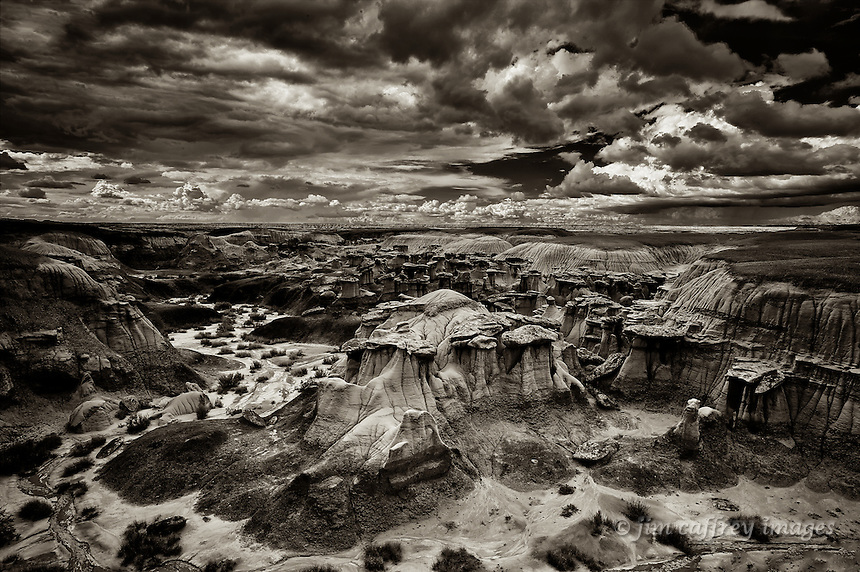 A sepia toned image of a concentrated collection of hoodoos in one of the side washes at Ah Shi Sle Pah Wilderness Study Area.