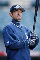 Ichiro Suzuki of the Seattle Mariners before a 2002 MLB season game against the Los Angeles Angels at Angel Stadium, in Los Angeles, California. (Larry Goren/Four Seam Images)