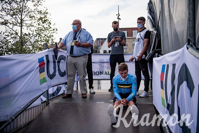 Bronze medal winner Remco Evenepoel (BEL/Deceuninck-Quickstep) waiting backstage for the podium ceremony to start<br /> <br /> Men Elite Individual Time Trial <br /> from Knokke-Heist to Bruges (43.3 km)<br /> <br /> UCI Road World Championships - Flanders Belgium 2021<br /> <br /> ©kramon