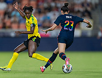 HOUSTON, TX - JUNE 13: Christen Press #23 of the USWNT dribbles during a game between Jamaica and USWNT at BBVA Stadium on June 13, 2021 in Houston, Texas.