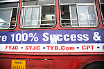 Mumbai, India<br /> Riding a battered bus to work with the slogan 100% success in the now vibrant economy But there is poverty everywhere.<br /> <br /> <br /> <br /> <br /> Picture by Gavin Rodgers/ Pixel8000<br />  07917221968