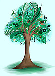 Illustrative image of go green concept over colored background
