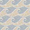 Jordan, a hand-cut stone mosaic, shown in tumbled Breccia Oniciata, Calacatta Tia, and Blue Macauba.