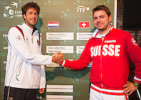 13-09-12, Netherlands, Amsterdam, Tennis, Daviscup Netherlands-Swiss, Draw  Robin Haase and Stanislas Wawrinka