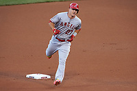 Los Angeles Dodgers Mike Trout rounds the bases after hitting a home run during the MLB All-Star Game on July 14, 2015 at Great American Ball Park in Cincinnati, Ohio.  (Mike Janes/Four Seam Images)