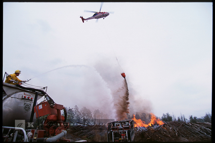 2-22-01.In Polk county a local log mill went up in flames during a drought where wildfires dotted the state and were diffucult for forrestry crews to get under control.
