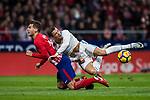 Cristiano Ronaldo of Real Madrid falls on Lucas Hernandez of Atletico de Madrid during the La Liga 2017-18 match between Atletico de Madrid and Real Madrid at Wanda Metropolitano  on November 18 2017 in Madrid, Spain. Photo by Diego Gonzalez / Power Sport Images