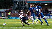 Bolton Wanderers' Dennis Politic (left) goes down after a challenge from Rochdale's  Tyler Magloire <br /> <br /> Photographer Andrew Kearns/CameraSport<br /> <br /> The Carabao Cup First Round - Rochdale v Bolton Wanderers - Tuesday 13th August 2019 - Spotland Stadium - Rochdale<br />  <br /> World Copyright © 2019 CameraSport. All rights reserved. 43 Linden Ave. Countesthorpe. Leicester. England. LE8 5PG - Tel: +44 (0) 116 277 4147 - admin@camerasport.com - www.camerasport.com