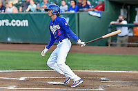 Moises Perez (6) of the Ogden Raptors follows through on his swing against the Grand Junction Rockies during the Pioneer League game at Lindquist Field on August 26, 2016 in Ogden, Utah. The Raptors defeated the Rockies 6-5. (Stephen Smith/Four Seam Images)
