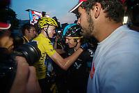 Chris Froome (GBR) hugging Geraint Thomas (GBR) after the final finish line<br /> <br /> Tour de France 2013<br /> (final) stage 21: Versailles - Paris Champs-Elysées<br /> 133,5km
