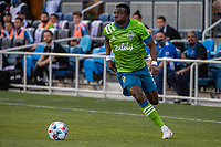 SAN JOSE, CA - MAY 12: Nouhou Tolo #5 of the Seattle Sounders looks up to pass the ball during a game between San Jose Earthquakes and Seattle Sounders FC at PayPal Park on May 12, 2021 in San Jose, California.