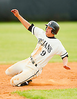 Corey Seager #9 of the Northwest Cabarrus Trojans slides into second base against the Sun Valley Spartans on March 7, 2012 in Kannapolis, North Carolina.  (Brian Westerholt/Four Seam Images)