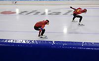 SCHAATSEN: HEERENVEEN: 10-10-2020, KNSB Trainingswedstrijd, Marten Liiv, Tjerk de Boer, ©foto Martin de Jong