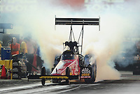 Sept. 2, 2011; Claremont, IN, USA: NHRA top fuel dragster driver Doug Kalitta during qualifying for the US Nationals at Lucas Oil Raceway. Mandatory Credit: Mark J. Rebilas-
