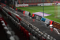 General view of the Lamex Stadium in Heavy rain during Stevenage vs MK Dons, EFL Trophy Football at the Lamex Stadium on 6th October 2020