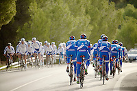 Team Wanty - Groupe Gobert 2015 crosses Team Novo Nordisk at their 2015 winter training camp