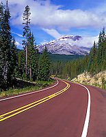 South Sister Mountain and road on Century Drive, Oregon