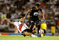 "BUENOS AIRES - ARGENTINA - 05 - 04 - 2018: Marcelo Saracchi (Izq.) jugador de River Plate disputa el balón con Wilson Morelo (Der.) jugador de Independiente Santa Fe, durante partido de la fase de grupos, grupo D, fecha 2, entre River Plate (ARG) y el Independiente Santa Fe, por la Copa Conmebol Libertadores 2018, en el estadio Antonio Vespucio Liberti ""Monumental de River"", de la ciudad Ciudad Autónoma de Buenos Aires. / Jonathan Mandana (L) player of River Plate vies for the ball with Wilson Morelo (R) player of Independiente Santa Fe, during a match of the groups phase, group D, 2nd date, beween River Plate (ARG) and Independiente Santa Fe, for the Conmebol Libertadores Cup 2018, at the Antonio Vespucio Liberti ""Monumental de River"", in Ciudad Autónoma de Buenos Aires.  Photo: VizzorImage / Javier Garcia Martino / Photogamma / Cont."