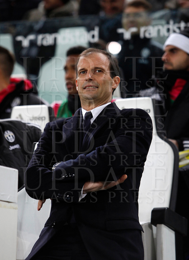 Calcio, Serie A: Juventus vs Milan. Torino, Juventus Stadium, 21 novembre 2015. <br /> Juventus coach Massimiliano Allegri waits for the start of the Italian Serie A football match between Juventus and AC Milan at Turin's Juventus stadium, 21 November 2015. Juventus won 1-0.<br /> UPDATE IMAGES PRESS/Isabella Bonotto