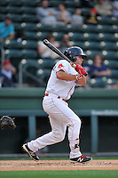 Designated hitter Chad De La Guerra (20) of the Greenville Drive bats in a game against the Charleston RiverDogs on Tuesday, May 17, 2016, at Fluor Field at the West End in Greenville, South Carolina. Greenville won, 4-2. (Tom Priddy/Four Seam Images)