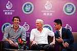 HAIKOU, CHINA - OCTOBER 27:  (L-R) Multiple Olympic gold medalist Michael Phelps of USA, golf legend Greg Norman of Australia, Dr. Ken Chu, Vice Chairman of Mission Hills Group laugh during the opening press conference of the Mission Hills Star Trophy on October 27, 2010 in Haikou, China. The Mission Hills Star Trophy is Asia's leading leisure liflestyle event and features Hollywood celebrities and international golf stars.  Photo by Victor Fraile / The Power of Sport Images