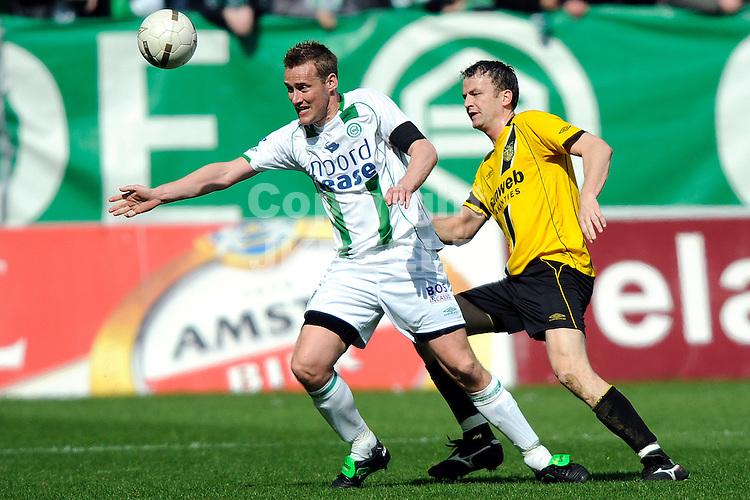 voetbal fc groningen - nac erediivisie seizoen 2007-2008 06-04-2008 .marnix kolder met rob penders.fotograaf Jan Kanning